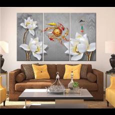 Tranh đồng hồ, tranh treo tường 3 bức hoa nghệ thuật  NT110