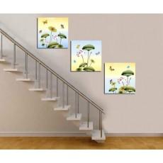 Tranh đồng hồ, tranh treo tường 3 bức nghệ thuật NT111