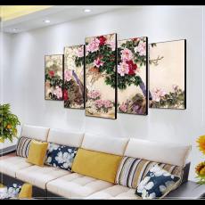 Tranh đồng hồ, tranh treo tường, 5 bức chim khổng tước NT133