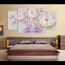 Tranh đồng hồ, tranh treo tường nghệ thuật Chim Thiên Nga NT148