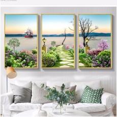 Tranh gương 3 bức phong cảnh con đường hoa MC101