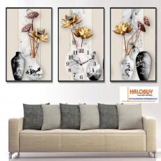 Tranh đồng hồ, tranh treo tường nghệ thuật NT154