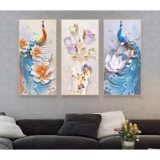 Tranh đồng hồ, tranh treo tường nghệ thuật Chim Công NT169