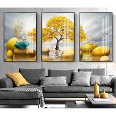 Tranh đồng hồ, tranh treo tường nghệ thuật Hươu phú quí NT170