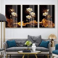 Tranh gương 3 bức hoa sen phú quí MC108