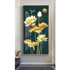 Tranh tráng gương 1 bức nghệ thuật hoa sen vàng MC62