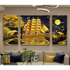 Tranh đồng hồ, tranh treo tường nghệ thuật thuận buồm xuôi gió NT291