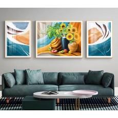 Tranh đồng hồ, tranh treo tường nghệ thuật cây hoa hướng dương NT312