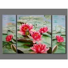 Bộ tranh sơn dầu 3 bức Hoa SD168 (kích thước 90x70cm)