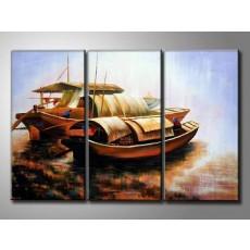 Bộ tranh sơn dầu bến đò SD173 (kích thước 90x60cm)