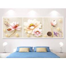 Tranh treo tường 3 bức tranh nghệ thuật hoa sen TB039