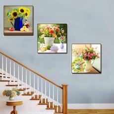 Tranh đồng hồ, tranh treo tường 3 bức nghệ thuật T09