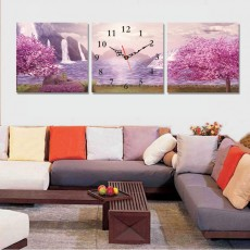 Tranh đồng hồ, tranh treo tường 3 bức nghệ thuật T12