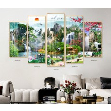 Tranh gương 5 bức phong cảnh sơn thủy hữu tình MC248