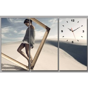 Tranh đồng hồ bộ 3 bức nghệ thuật DH339A (kích thước 40x80cm)