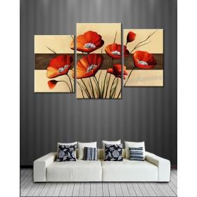 Bộ tranh sơn dầu hiện đại hoa đỏ SD188( kích thước 125x75cm)