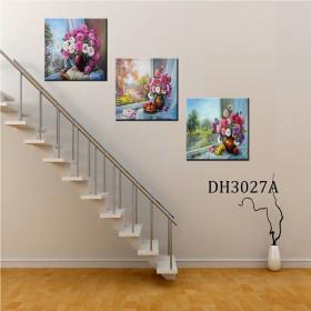 Tranh treo tường 3 bức tranh bình hoa DH3027A