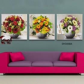 Tranh đồng hồ, tranh treo tường 3 bức nghệ thuật DH3448A
