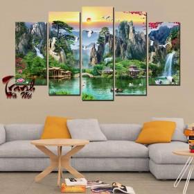 Tranh ghép bộ nghệ thuât 5 bức phong cảnh NT078