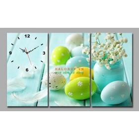 Tranh đồng hồ bộ 3 bức trứng DH472a (kích thước 75x45cm)