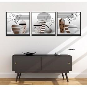 Tranh đồng hồ, tranh treo tường 3 bức nghệ thuật DH4945A