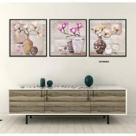 Tranh đồng hồ, tranh treo tường 3 bức nghệ thuật DH4946A