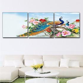 Tranh bộ 3 bức hoa chim Công DH2063A (kích thước 90x30cm)