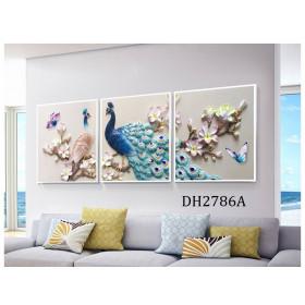 Tranh treo tường 3 bức nghệ thuật chim công DH2786A