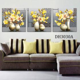 Tranh treo tường 3 bức tranh bình hoa DH3030A