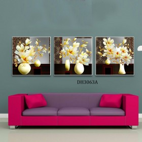 Tranh gương 3 bức hoa mộc lan  MC01