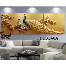 Tranh treo tường 3 bức nghệ thuật chim công DH3148A