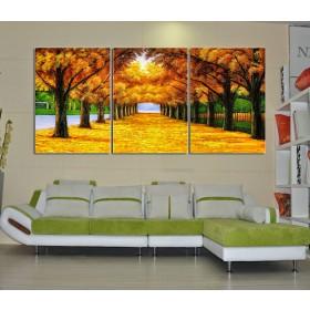 Tranh bộ 3 bức hàng cây vàng DH2072A (kích thước 120x60cm)