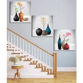 Tranh đồng hồ, tranh treo tường 3 bức nghệ thuật NT098
