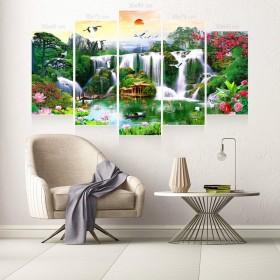 Tranh gương 5 bức phong cảnh sơn thủy hữu tình MC135