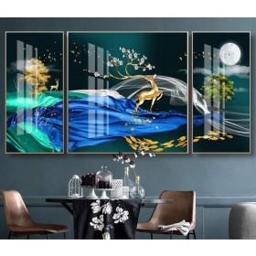 Tranh đồng hồ, tranh treo tường nghệ thuật hươu phú qúy NT329