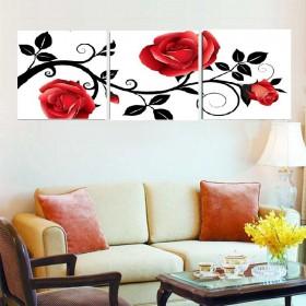 Tranh bộ hoa Hồng đỏ DH1560A (kích thước 40x120cm)