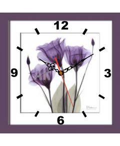 Tranh đồng hồ in nghệ thuật hoa tím đồng hồ 013a