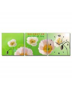Tranh đồng hồ bộ 3 tấm Flower Violet DH404A (kích thước 90x30cm)