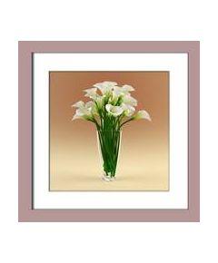Tranh in nghệ thuật hoa Rum trắng 005a